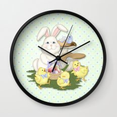 White Rabbit and Easter Friends Wall Clock