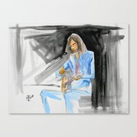 neil young Canvas Prints featuring Neil Young On Guitar by Mark T. Zeilman