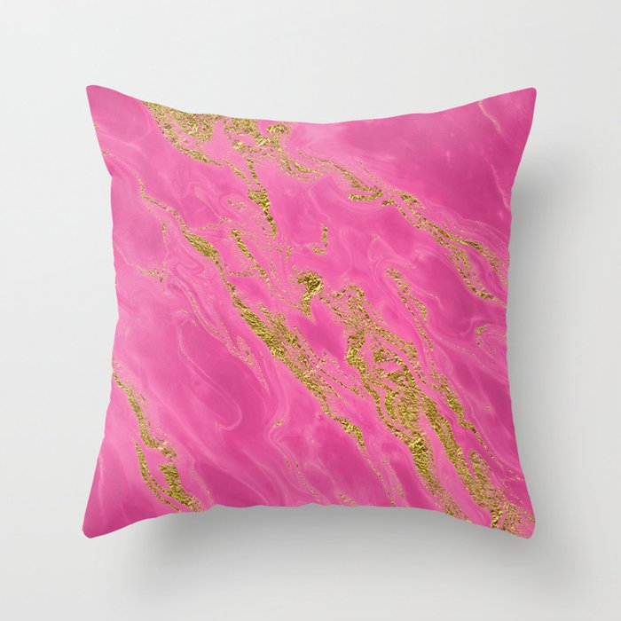 Luxury and glamorous gold glitter on pink Sea marble Throw Pillow
