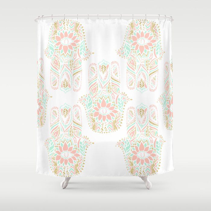 Modern Girly Pink Mint Gold Hamsa Hand Of Fatima Shower Curtain By Girlytrend