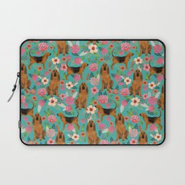 Bloodhound floral dog breed dog pattern pet friendly pet portraits custom dog gifts mint Laptop Sleeve