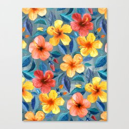 Colorful Watercolor Hibiscus on Grey Blue Canvas Print