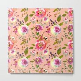 pink peonies watercolor floral Metal Print