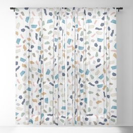 Terrazo Texture - Blue and Earth tones Sheer Curtain