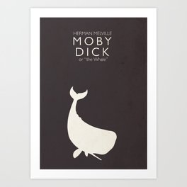 Moby Dick, Herman Melville, minimal book cover, classic novel, the whale, sea adventures Art Print