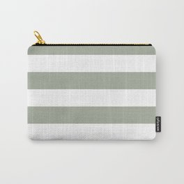 Large Desert Sage Grey Green and White Cabana Stripes Carry-All Pouch