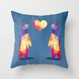 Geometric Bears - Blue Throw Pillow