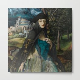 """Mystery woman in the forest among flowers"" Metal Print"