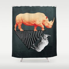 The orange rhinoceros who wanted to become a zebra Shower Curtain