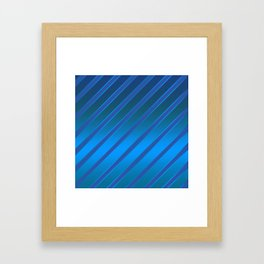 Oblique blue stripes on a blue satin background . Framed Art Print
