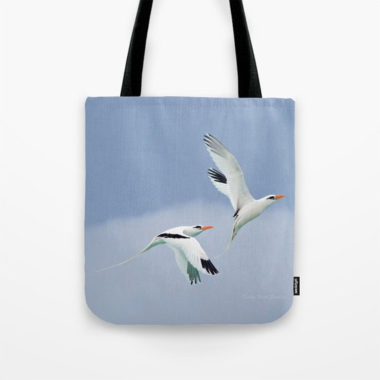 White-tailed Tropicbird Pair, Mating Flight by kathyweststudios