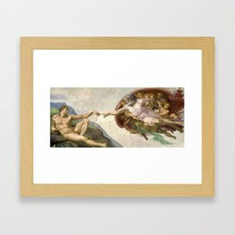 Creation of Adam - Painted by Michelangelo Framed Art Print