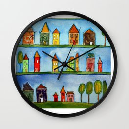 Postage Stamp Houses Wall Clock