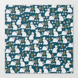 Romantic cat pattern Canvas Print