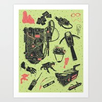 ghostbusters Art Prints featuring Artifacts: Ghostbusters by Josh Ln
