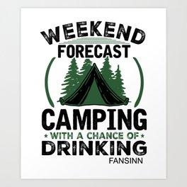 Camping tents recreation gift Art Print