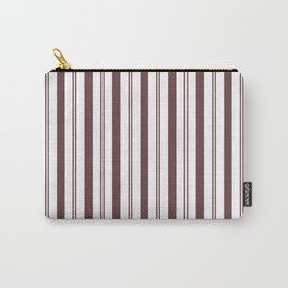 Pantone Red Pear & White Wide & Narrow Vertical Lines Stripe Pattern Carry-All Pouch