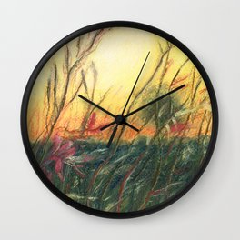 Wildflowers_Pastel Drawing Wall Clock