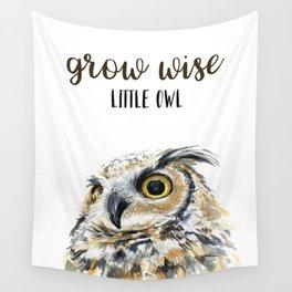 Grow Wise Little Owl Nursery Animals Art Great Horned Owl Wall Tapestry