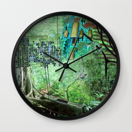 Digital Circuit Jungle Tree, creatures of the electronic age Wall Clock