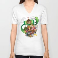 katamari V-neck T-shirts featuring Chestnut Katamari by Ed Warner