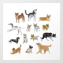 Dogs Fun Watercolor Art Print