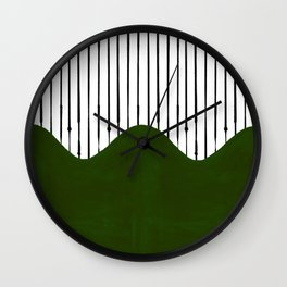 lines and wave (green) Wall Clock