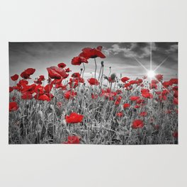 Idyllic Field of Poppies with Sun Rug