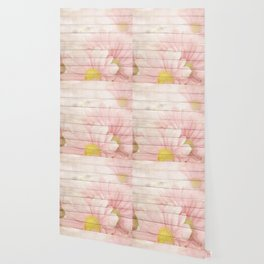 Romantic Vintage Shabby Chic Floral Wood Pink Wallpaper