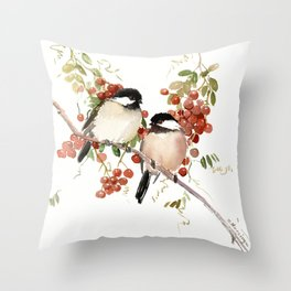 Chickadee Bird Vintage Bird Artwork, two birds, chickadees woodland design Throw Pillow
