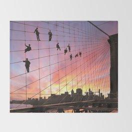 Brooklyn Bridge Painters Quitting Time Throw Blanket
