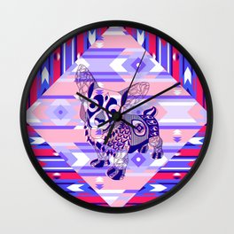 mr folk corgi dog ecopop Wall Clock