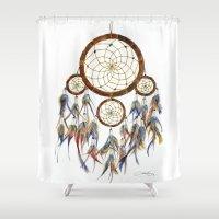 dream catcher Shower Curtains featuring Dream Catcher by Sarah Jane Bradley