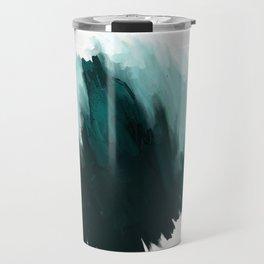 Our trip to the Oregon coast - an aqua blue abstract painting by JulesTillman Travel Mug