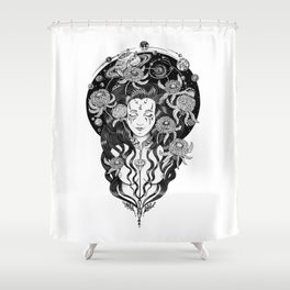 Cosmos Moon Goddess Shower Curtain