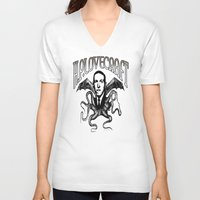 lovecraft V-neck T-shirts featuring H.P. LOVECRAFT by Bili Kribbs