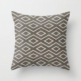 Stitch Diamond Tribal in Khaki Throw Pillow