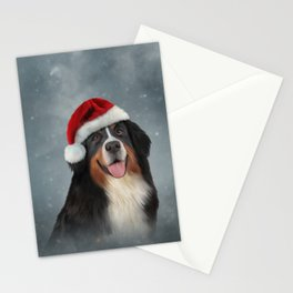 Bernese Mountain Dog in red hat of Santa Claus Stationery Cards