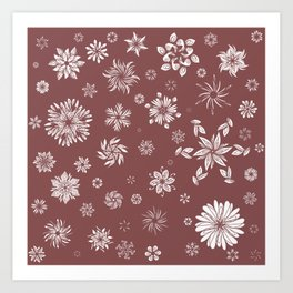 White and Brown Flowers  Art Print