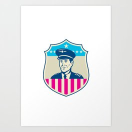 American Airline Pilot Aviator USA Flag Shield Retro Art Print
