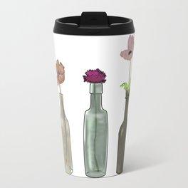 flowers in glass bottles . Pastel colors . artwork Travel Mug