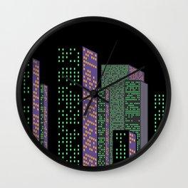 City Skyline at Night Wall Clock