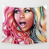 friday Wall Tapestries featuring Pink Friday by Denda Reloaded