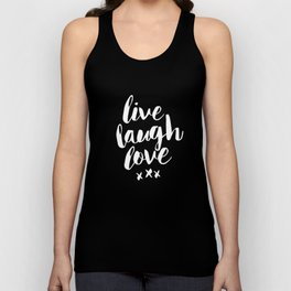 Live Laugh Love black and white monochrome typography poster design home wall decor canvas Unisex Tank Top