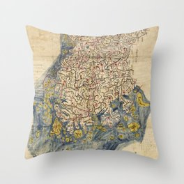 Chŏlla-namdo & Chŏlla-pukto Chŏndo, Korea Map (c 1800) Throw Pillow