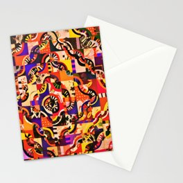 Vintage Lines Waves Abstract Art Painting Stationery Cards