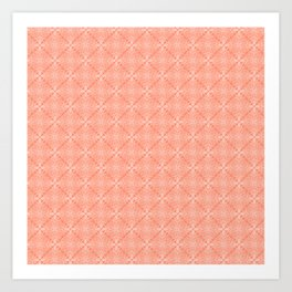 White Lace on Coral Pink Background Art Print