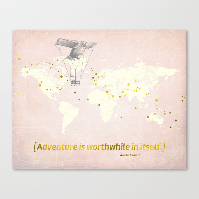 Inspirational Quote Art Amelia Earhart World Map Vintage Hot Air