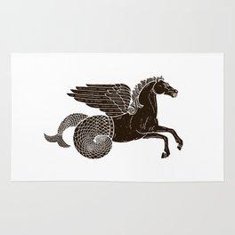 Hippocampus Sea Horse Myth Retro Vintage Rough Design Rug