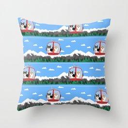 Gondola corgis telluride ski slopes custom dog Throw Pillow